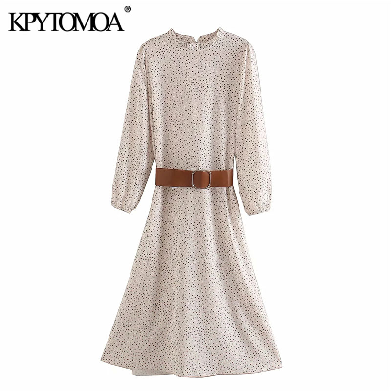KPYTOMOA Women 2020 Elegant Fashion Polka Dot With Belt Midi Dress Vintage Ruffled Collar Long Sleeve Female Dresses Vestidos