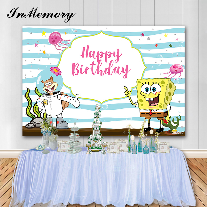 InMemory Spongebob Photography Backdrops Newborn Baby Shower The Underwater World Kids Birthday Photo Background PhotoBooth Prop image