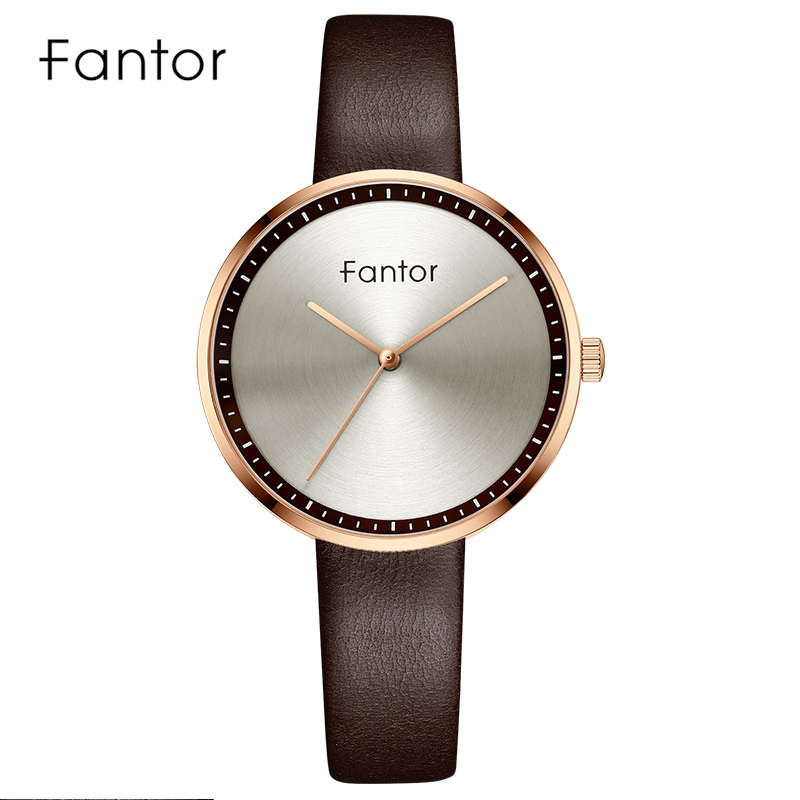 Fantor Ladies Luxury New Brand Leather Strap Watch Women's Elegant Quartz Wristwatch Casual Fashion Female Women Dress Watches