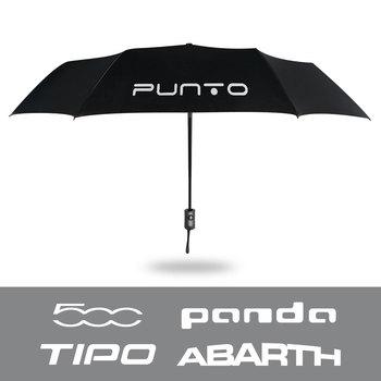 Samochód przenośny w pełni automatyczny składany parasol odporny na wiatr parasol z Logo na samochód dla Fiat 500 Punto Panda Tipo Abarth akcesoria tanie i dobre opinie CN (pochodzenie) Rura ze stopu aluminium Car Accessories Car Waterproof Umbrella Black Fully Automatic Folding For Fiat 500 Punto Panda Tipo Abarth