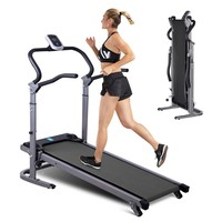 Household Gym Treadmill Running Machine with LED Display Safe Bar Folding Motorized Treadmill Portable Mechanical Treadmill