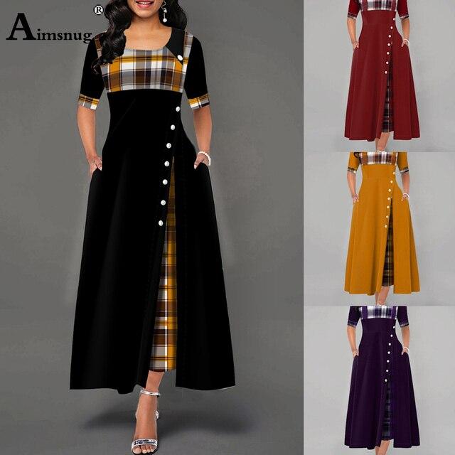 Elegant Women Plus Size 4xl 5xl Long Plaid Party Dresses Irregular Ladies Vintage Button Dress 4