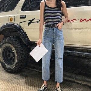 Image 2 - Джинсы Женские однотонные модные элегантные подходящие ко всему высококачественные Свободные повседневные женские в Корейском стиле для отдыха женские простые милые простые джинсы с 2020 отверстиями