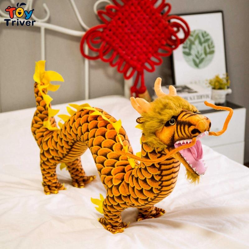Reallife chinois Dragon en peluche Triver animaux en peluche poupée enfants enfants jouets chanceux cadeau décor à la maison artisanat livraison directe