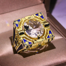 Anillos de oro amarillo de lujo de circonita blanca redonda grande para hombres mujeres moda azul patrón Vintage anillo de diseño de dedo Masculino banda