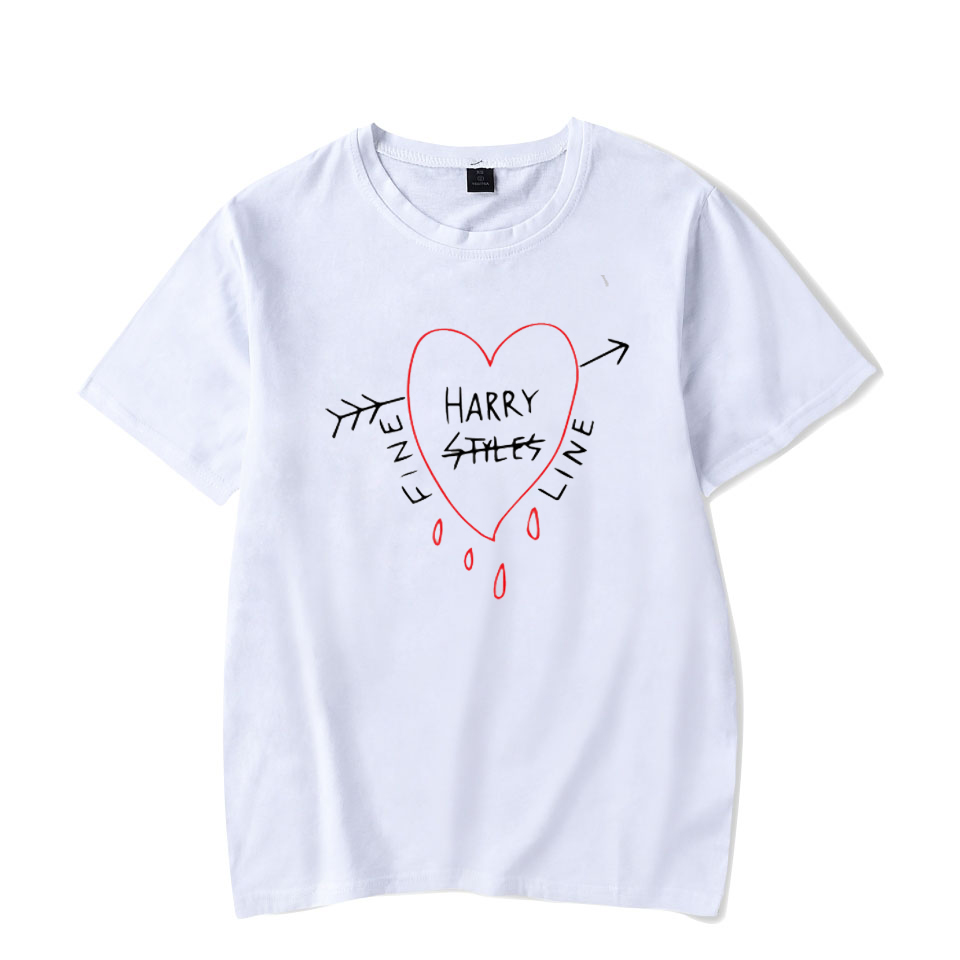 해리 스타일 Tshirt 코튼 오버 사이즈 T 셔츠 남성 파인 라인 하라주쿠 Tshirt 여성 여름 짧은 소매 티셔츠 탑스 티즈 여성