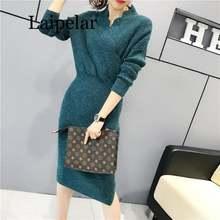 Женское модное платье свитер с v образным вырезом в рубчик женские