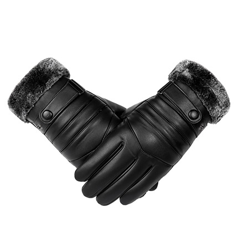 Winter Men Leather Gloves Windproof Touch Screen Keep Warm Driving Guantes Male Autumn Leather Gloves Black