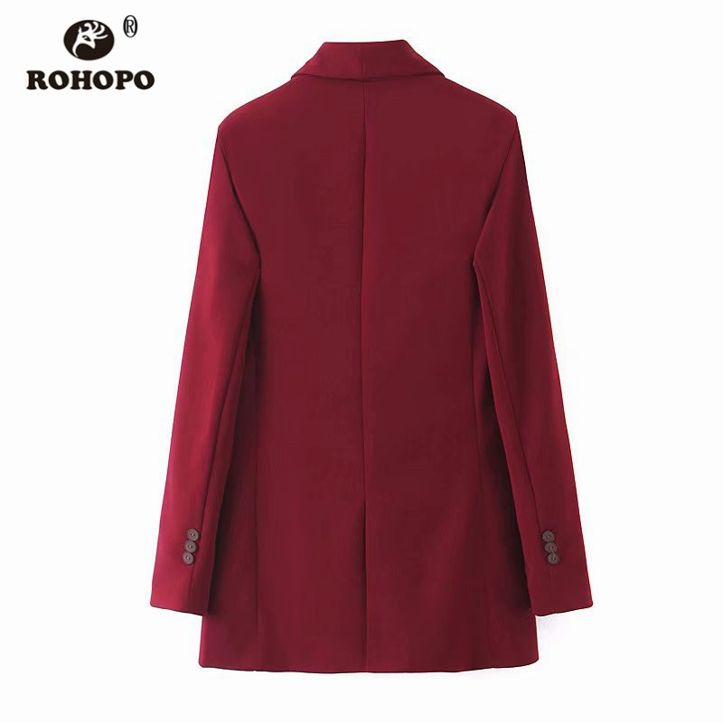 ROHOPO Double Breast Office Ladies Solid Slim Blazer Notched Collar Claret Army Green Side Welt Pockets Solid Outwears #2298