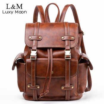 Vintage Leather Backpack Women Fashion Large Drawstring Rucksack School Travel Bag For Teenage Girls mochilas Black Brown XA480H - DISCOUNT ITEM  47% OFF All Category