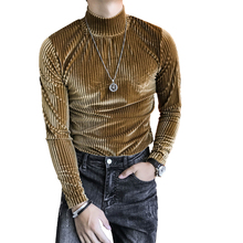 Mens autumn and winter slim half-high collar bottoming shirt mens flannel striped long-sleeved T-shirt