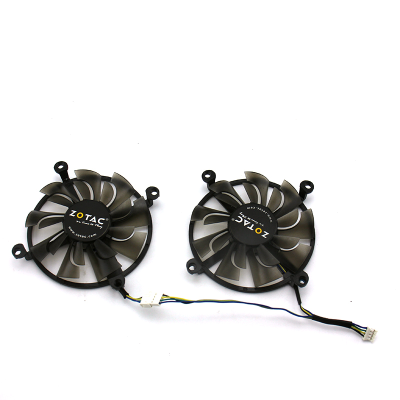 2psc/1lot 4Pin Cooler Fan Replace GPU For ZOTAC GTX1060 3GB GTX960 GTX950 4GD5 Graphics Card Cooling Fan image