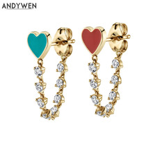 ANDYWEN 925 Sterling Silver Enamel Heart Stud Earring Chain Women Jewelry Red Enamel Gold Earring 2020 Statement Crystal CZ