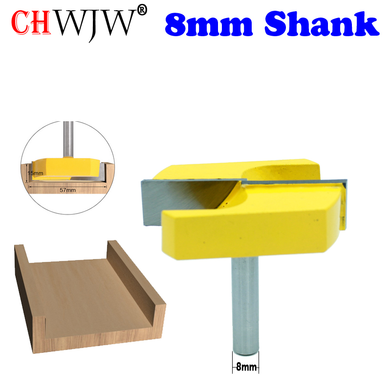 CHWJW 1PC Cleaning Bottom Router Bits With 8mm Shank,2-3/16 Cutting Diameter For Surface Planing Router Bit