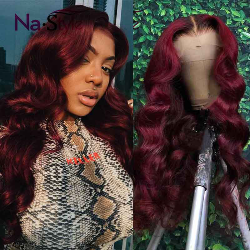 Burgundy 99j Lace Front Wig Red Human Hair Wigs Colored 360 Lace Wig Preplucked Full Lace Wigs Human Hair With Baby Hair 150%