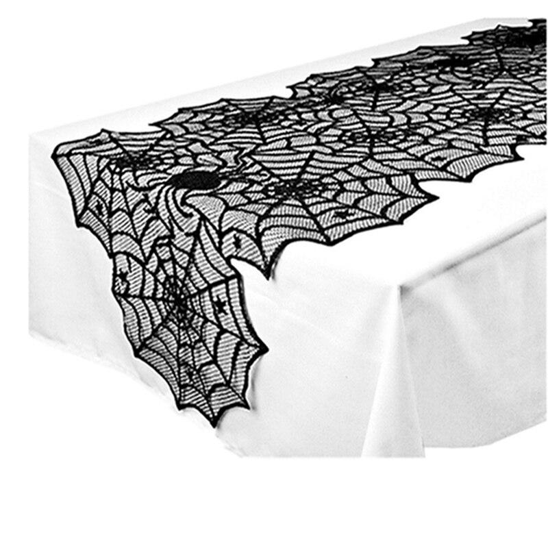 Черная кружевная скатерть с паутиной на Хэллоуин, Полиэстеровая скатерть, декор для Хэллоуина, вечерние скатерти