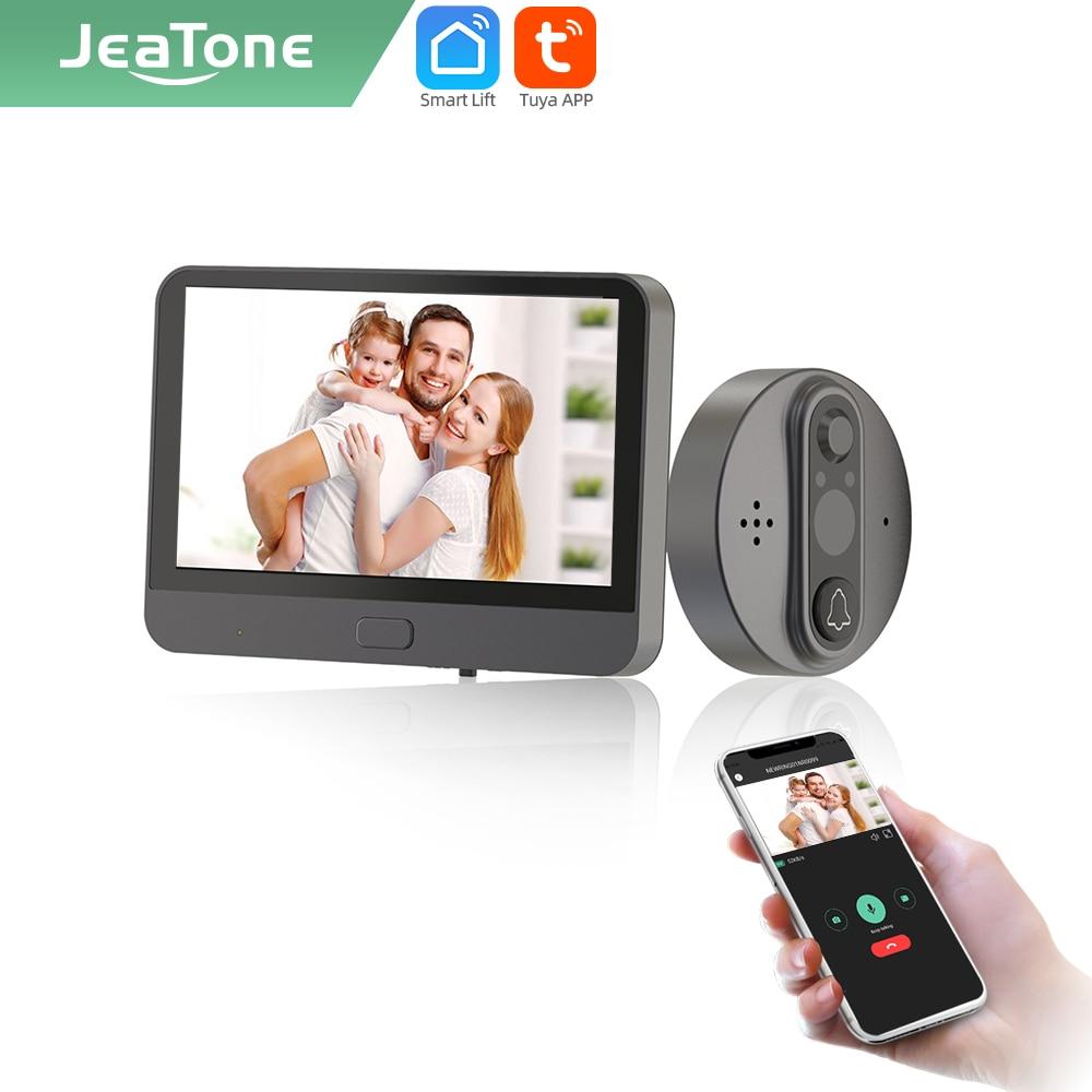 Jeatone Tuya Смарт WiFi дверной звонок с 720P110 ° камера видео глазок для двери 4,3