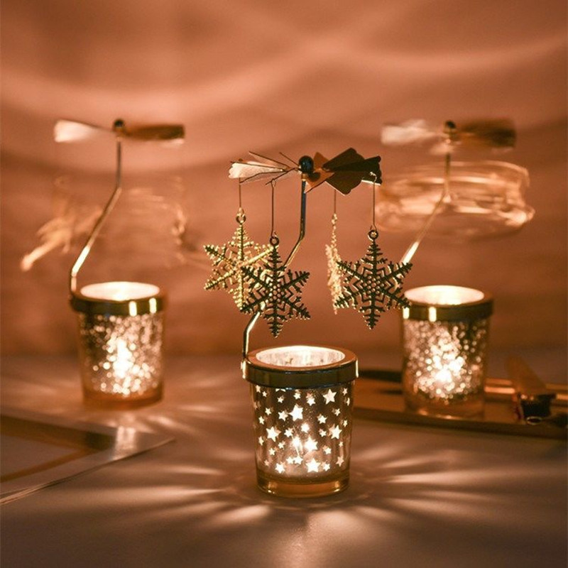 Rotating Candle Holder Lamp Without Electricity Candlesticks With Candle Windmill Spinning Carousel Tea Light Christmas Lights