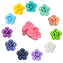 Happyfriends 20Pcs Flower Silicone Rose Beads Chewing Soft Food Grade Baby Teethers for Pacifier Clip Necklace Bracelet Jewelry