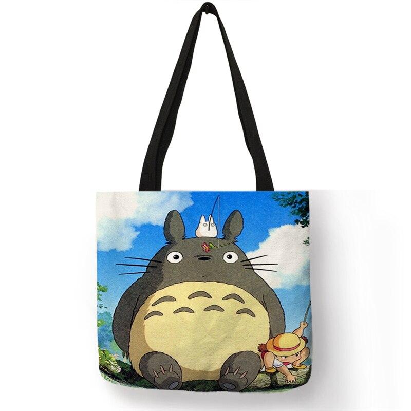 B06127 Cute Cartoon Totoro Print  Womens Handbags Tote Shoulder Bag School Students Book Bag Reusable Shoppers Bags