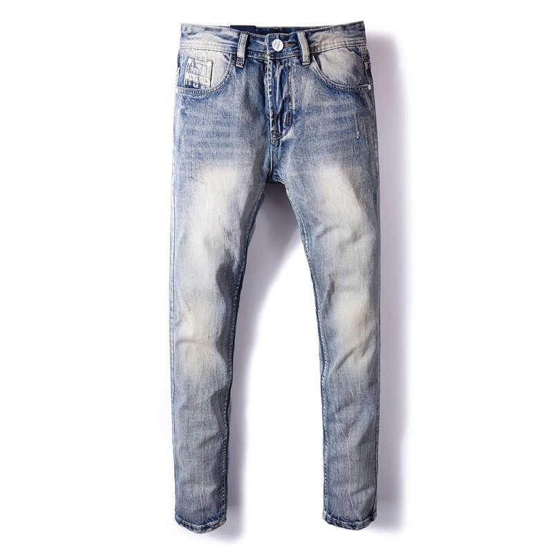 Italienische Mode Männer Jeans Retro Blau Farbe Slim Fit Zerrissene Jeans Männer Klassische Baumwolle Denim Hosen Vintage Designer Jeans