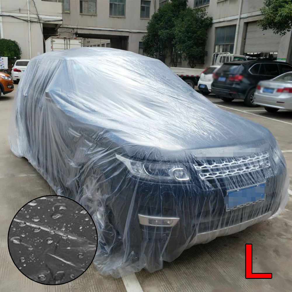 Clear Car Cover Plastic Seamless Waterproof Dustproof Disposable Transpartent PE Rubber Band L/XL Car Covers