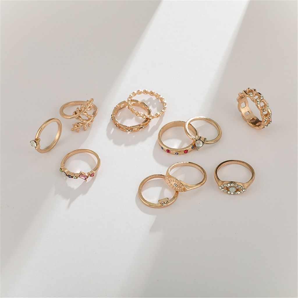 Juego de 11 piezas de combinación de colores de Ojos de joyería minimalista creativa Vintage anillo de cristal geométrico bohemio para mujer conjunto de dedo Midi #1
