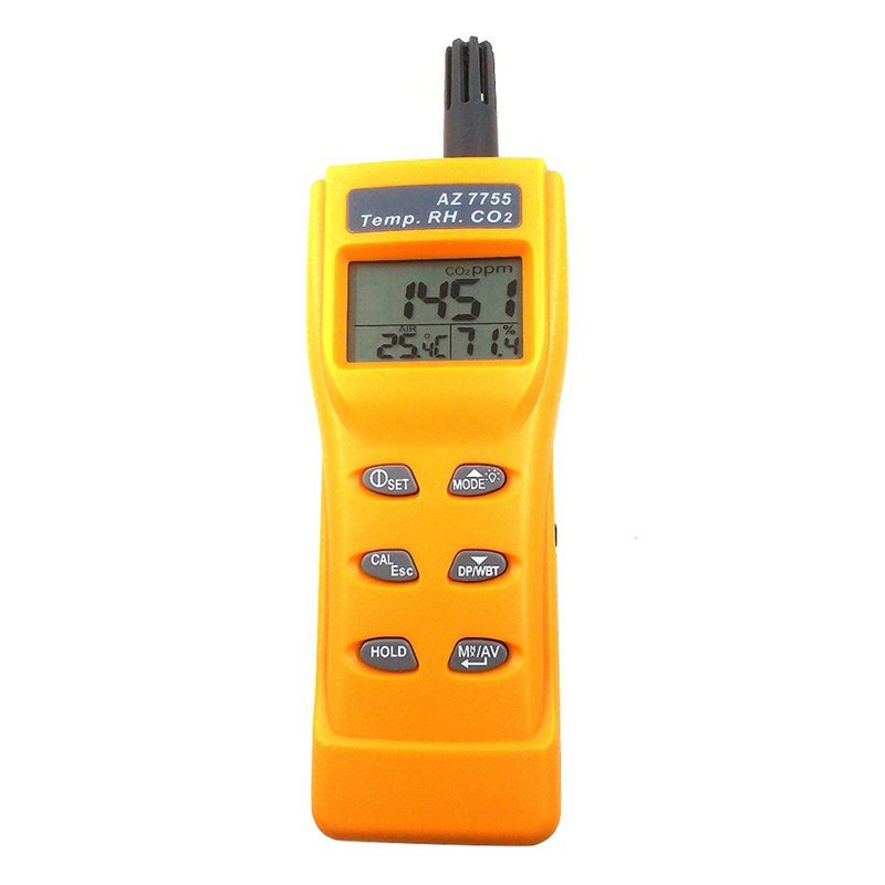AZ7755 CO2 Gas Detector With Temperature And Humidity Test With Alarm Output Driver Built-In Relay Control Ventilation System