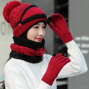 Image 5 - CHAOZHU 4 חתיכות חורף להתחמם סטי כפפות מסכת כובע צעיף פומפונים כובע נשים מתנה סטים לעבות שלג יום קר ורוח עמיד