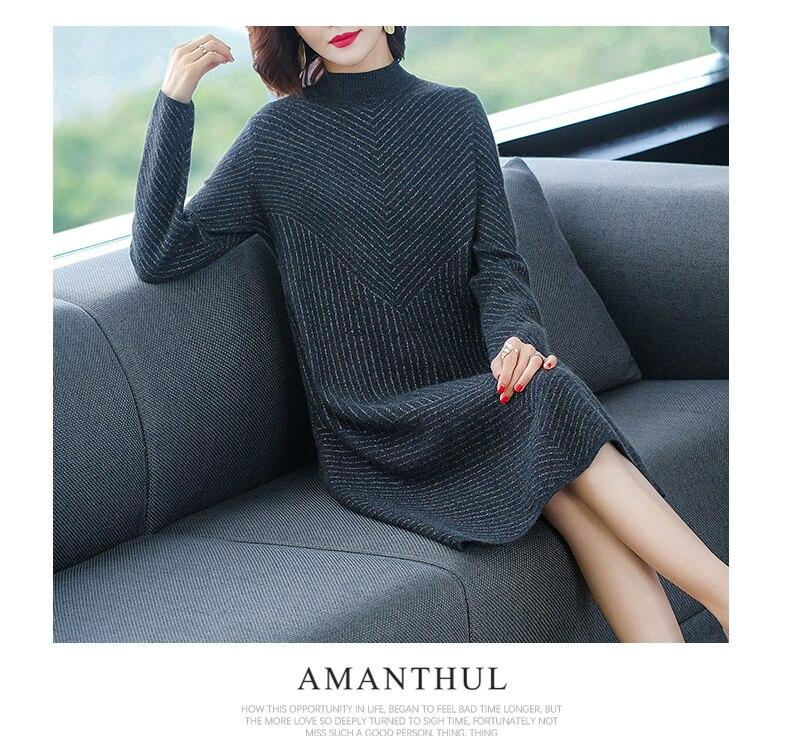 alta engrossado vestido de lã para mulher