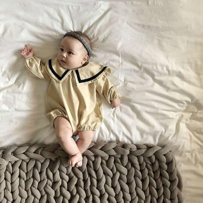 Boys And Girls Cotton romper Navy Collar Long Sleeve Butt wrapped Crawling Clothes Twins Baby Clothes in Bodysuits from Mother Kids