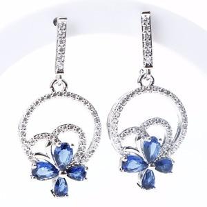 Image 5 - Wedding Silver 925 Jewellery Costume Jewelry Sets Women Blue Zirconia Bracelet Ring Pendant Necklace Earrings Set Gift Box
