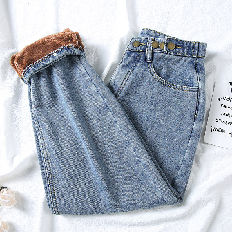 Women Fleece Jeans Fashion High Waist Warm Thickening Denim Straight Pants Solid Loose Jean Pants New Sexy Streetpants P9230