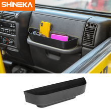 SHINEKA Stowing Tidying Co-Pilot Position Armrest Storage Box fit for Jeep Wrangler TJ 1997-2006 Car Interior Accessories ABS shineka car styling soft rubber armrest box trim cap center console storage box soft rubber cover for jeep wrangler tj
