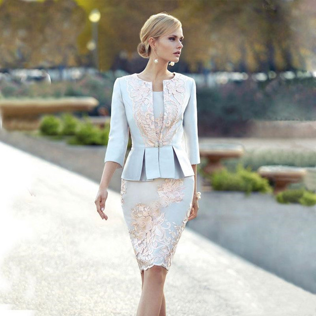 Elegant Lace Mother Of The Bride Dresses With Jacket Sheath Appliques Wedding Guest Dress Knee Length Plus Size Satin Evening Go