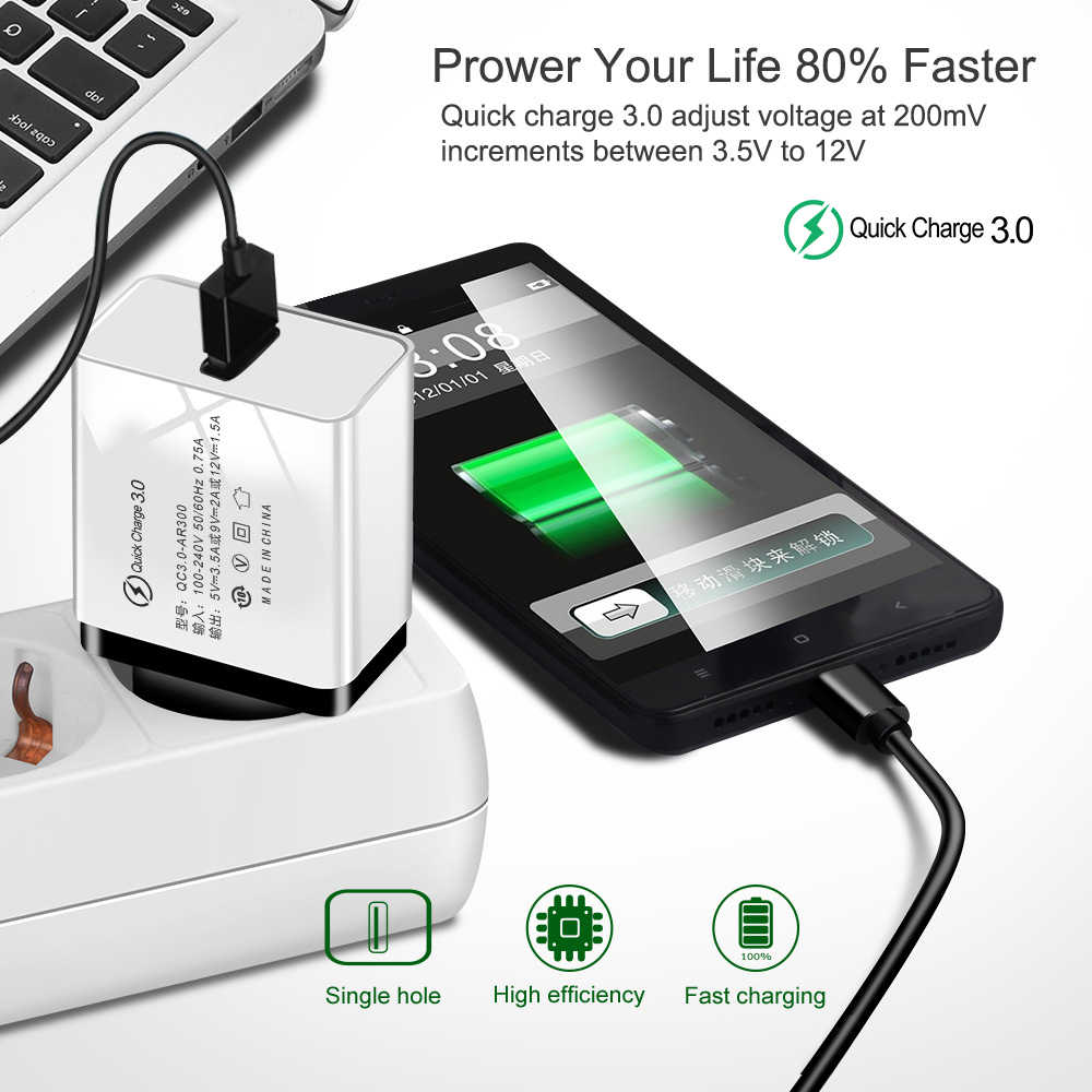 USB Quick Charge 3.0 cho Apple iPhone 7 8 6 6 S x iPad EU Adapter Sạc cho Samsung S8 s9 Huawei Sạc Điện Thoại