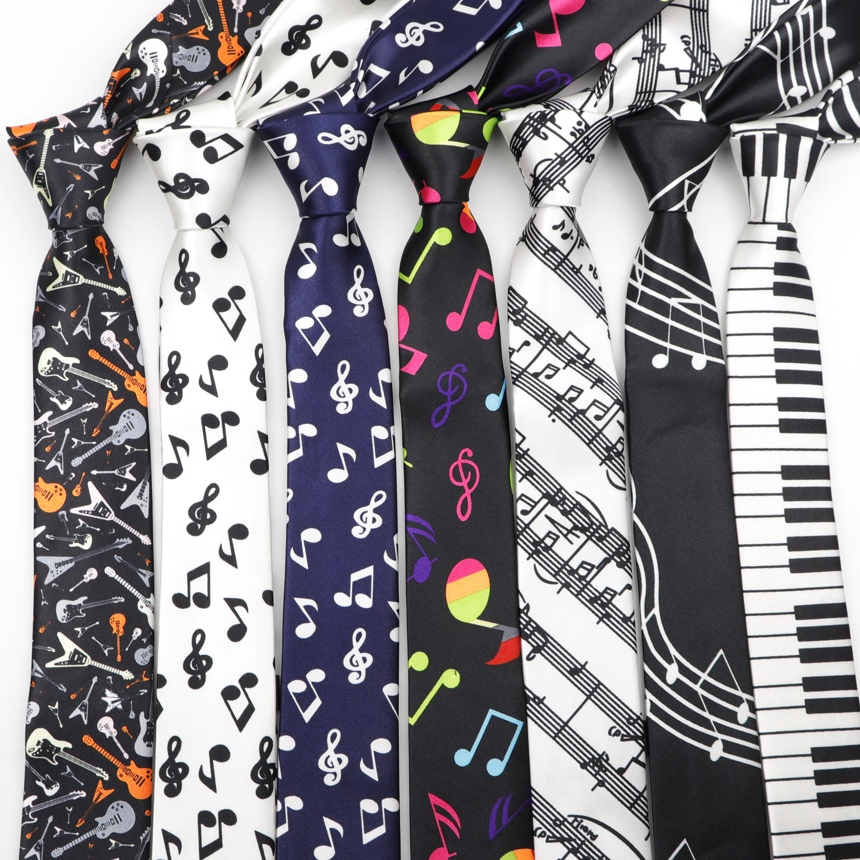 Classic Fashion Men's Skinny Tie Colorful Musical Notes Printed Piano Guitar Polyester 5cm Width Necktie Party Gift Accessory