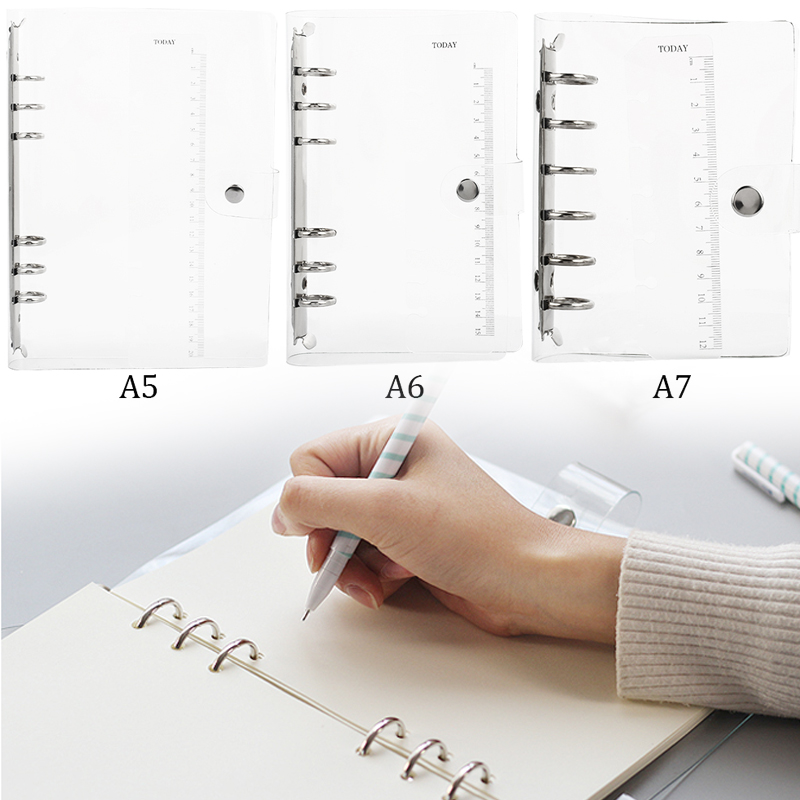 A5//A6//A7 Transparent Loose Leaf Ring Binder Notebook Weekly Planner Diary Cover!