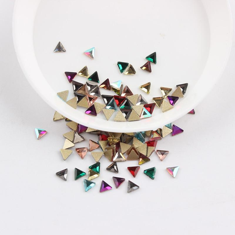Все смешанные цвета, 30 шт, стразы для дизайна ногтей, сделай сам, без горячей фиксации, стеклянные камни для ногтей, драгоценные камни для 3D украшения для ногтей - Цвет: 3mm Triangle