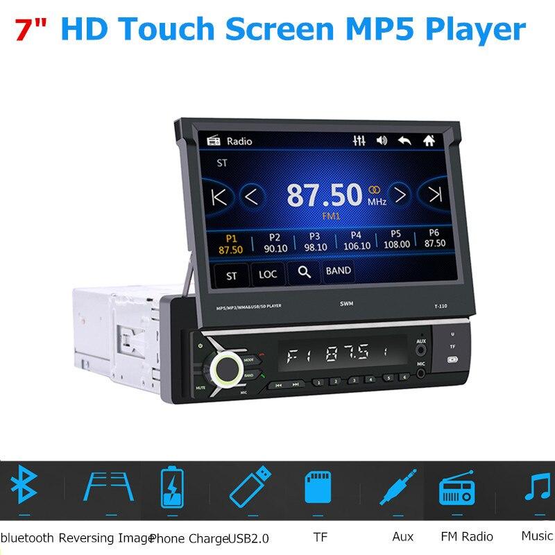7 pouces HD écran tactile voiture Auto MP5 lecteur FM Radio Multimidia rétractable 1 DIN USB bluetooth récepteur inverse voiture accessoires