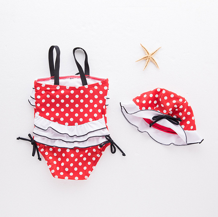 Special Approval ~ Red Jade Dotted Camisole Children One-piece Triangular Bathing Suit + Cap Baby Bathing Suit Zhi Pi