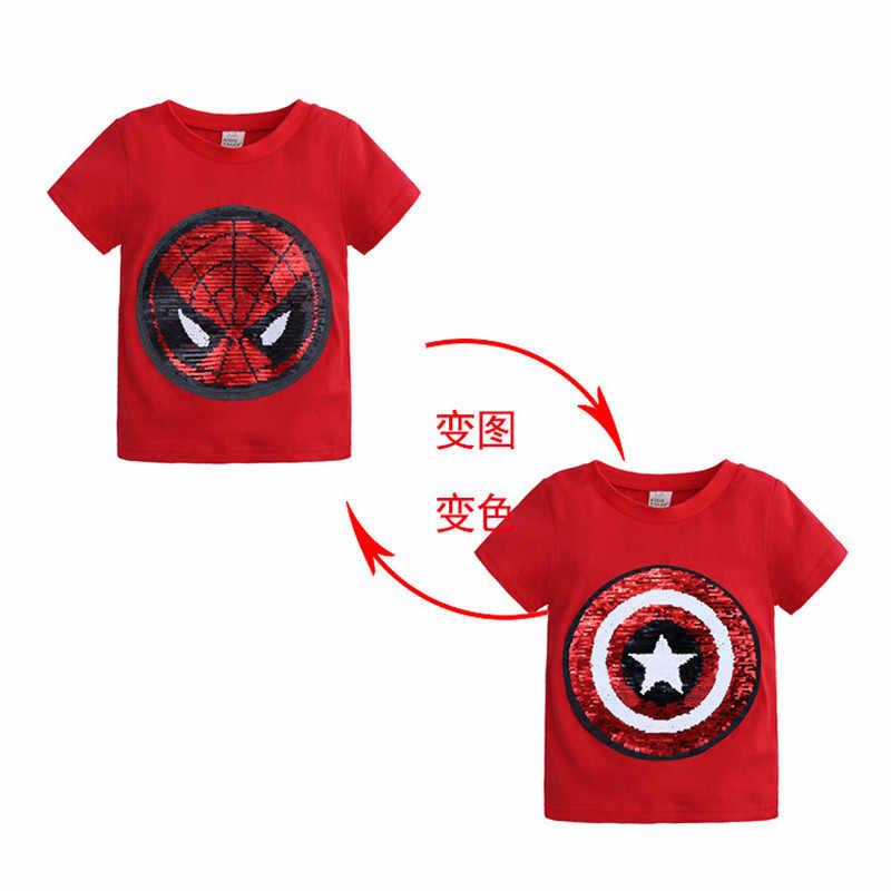 נוקם T חולצה בני גיבור נצנצים הפיך חולצות Tees ילדים ספיידרמן פנים-שינוי קפטן אמריקה T חולצה ילדי בגדים