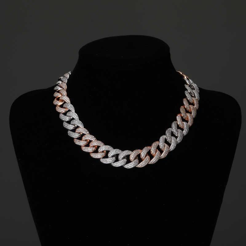 TOPGRILLZ 18MM Maimi kubański Link Chain naszyjnik srebrny i kolor róży Iced Out Cubic cyrkon Hip Hop biżuteria prezent