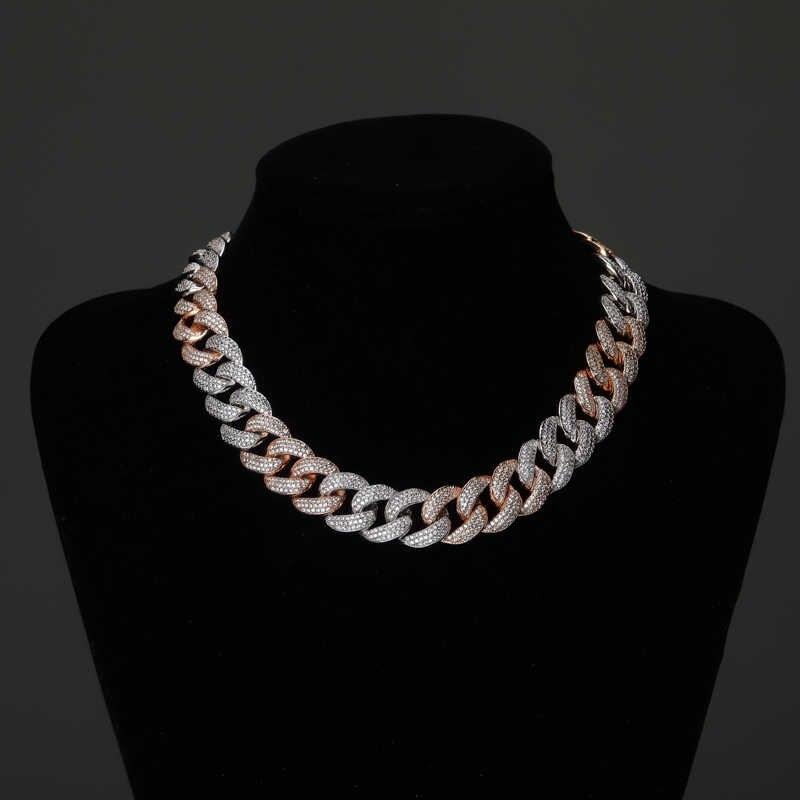 TOPGRILLZ 18MM Maimi kubański Link łańcucha naszyjnik srebrny i Rose kolor Iced Out Cubic cyrkon Hip Hop biżuteria prezent