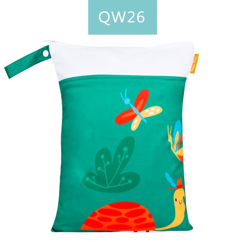 Happy Flute 1 шт. Многоразовые водонепроницаемые модные принты влажная сухая сумка для подгузников двойной карман тканевая Ручка сумки для мокрого плавания 30*40 см - Цвет: ES001QW26