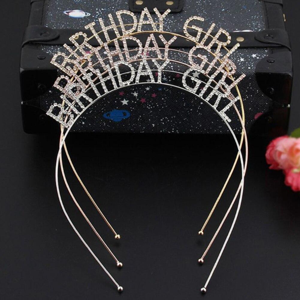 Metal Rhinestone Inlaid Headband Birthday Girl Hair Hoop Party Crown Decor Hot