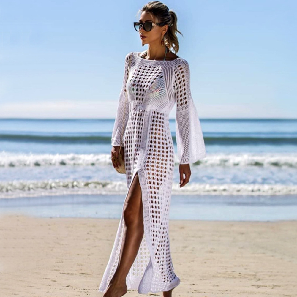 New Knitted Beach Cover Up Women Bikini Swimsuit Cover Up Hollow Out Beach Dress Tassel Tunics Bathing Suits Cover-Ups Beachwear 32