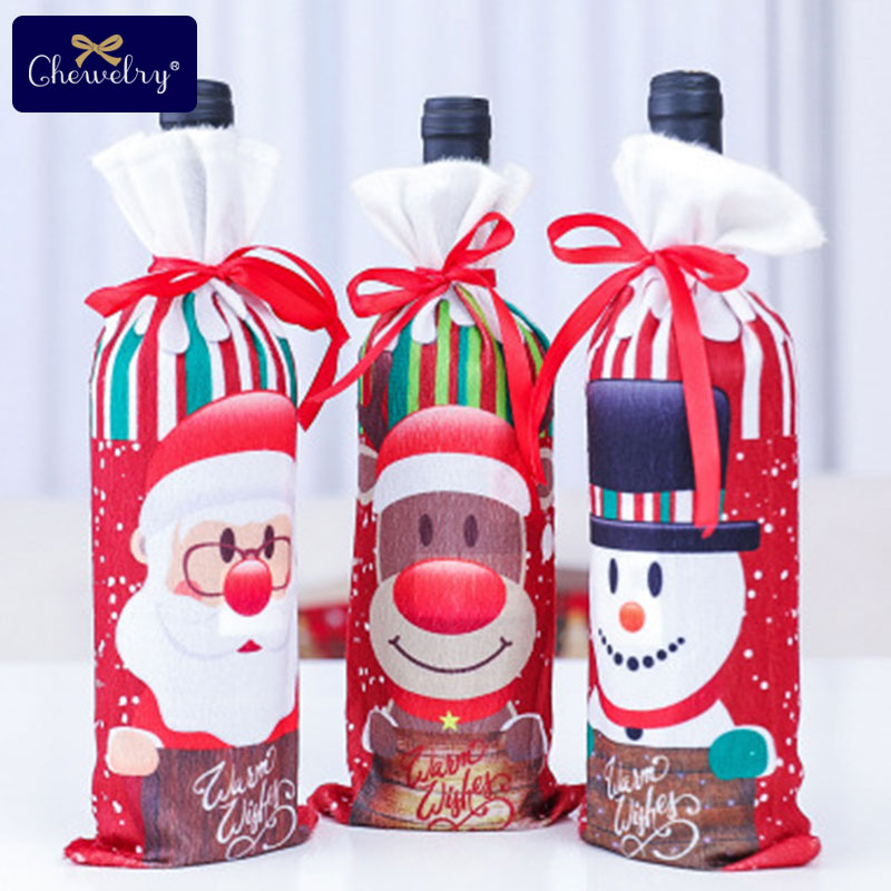 1pc Durable Wine Bags Non-woven Fabric Red Wine Bottle Glass Bag Travel Pouch Gift Weddings Reusable Santa Claus Christmas Gifts