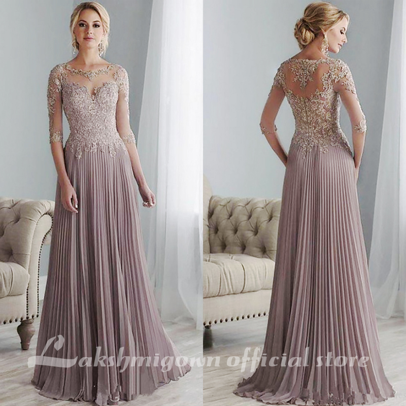 Purple Lace Appliques Mother Of The Bride Dresses Plus Size Half Sleeves Floor Length Pleated Chiffon Abito Mamma Sposa 2020,Wedding Night Dress For Bride