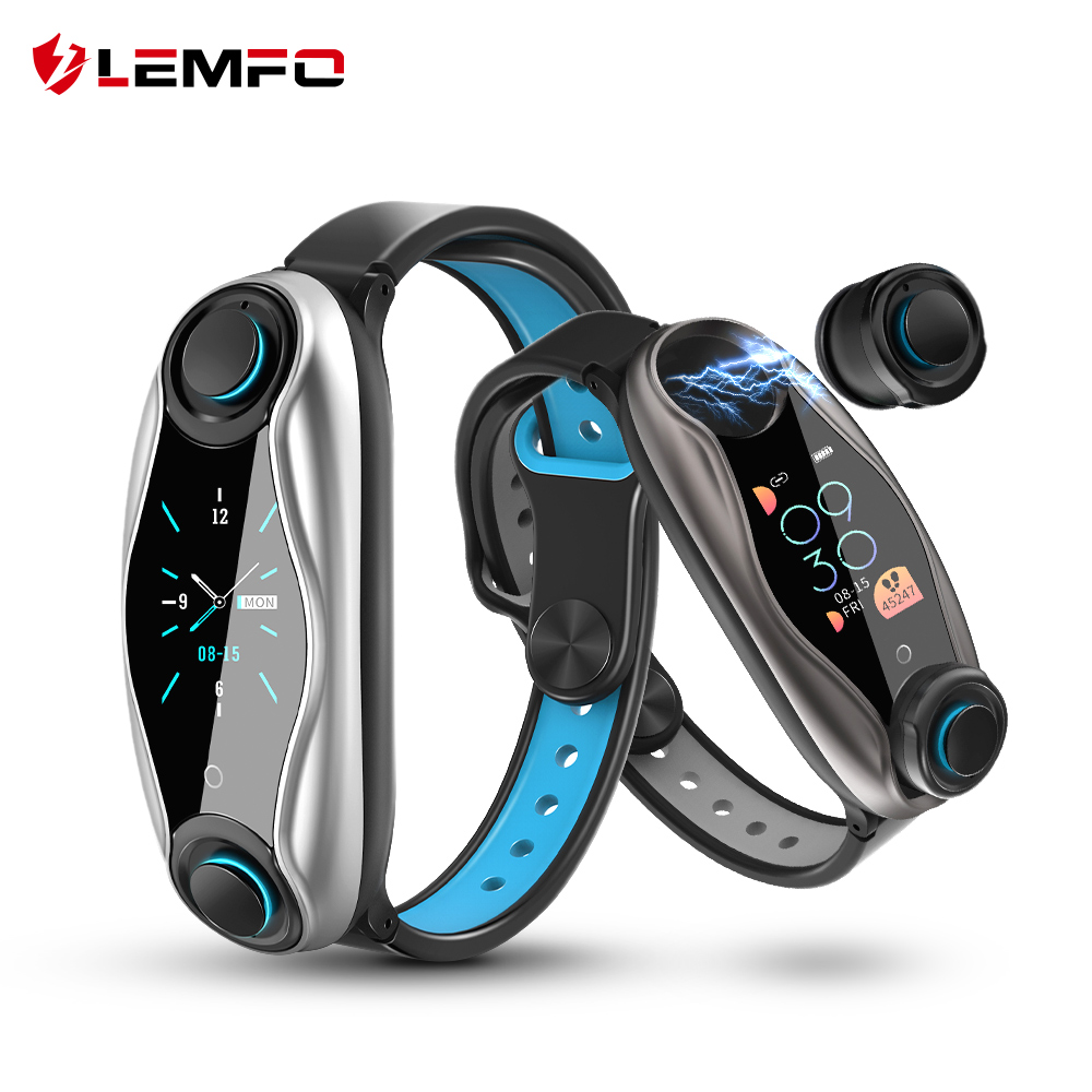 LEMFO LT04 T90 Fitness Bracelet Wireless Bluetooth Earphone 2 In 1 Bluetooth 5.0 Chip IP67 Waterproof Sport Smart Watch(China)